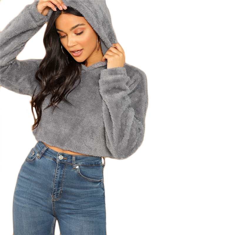 SHEIN Grey Minimalist Solid Drop Shoulder Crop Teddy Hoodie Sweatshirt Autumn Casual Fashion Women Pullovers Sweatshirts 11