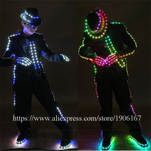 LED Luminous Costume For Men Clothing Light Up MJ Style Suits Dance Wear With Led Hat