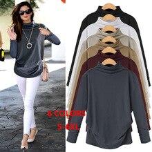 Spring Autumn Plus Size Long Sleeve Tshirt S - 6XL Solid Casual Cotton White Black Big Women Clothing T Shirts 39757
