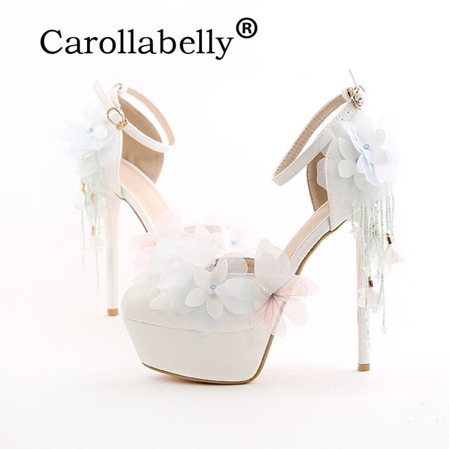 Carollabelly Pearl White Fashion Womens Butterfly Wedding Pumps Lace Flower High Heel Platform Shoes Bridal