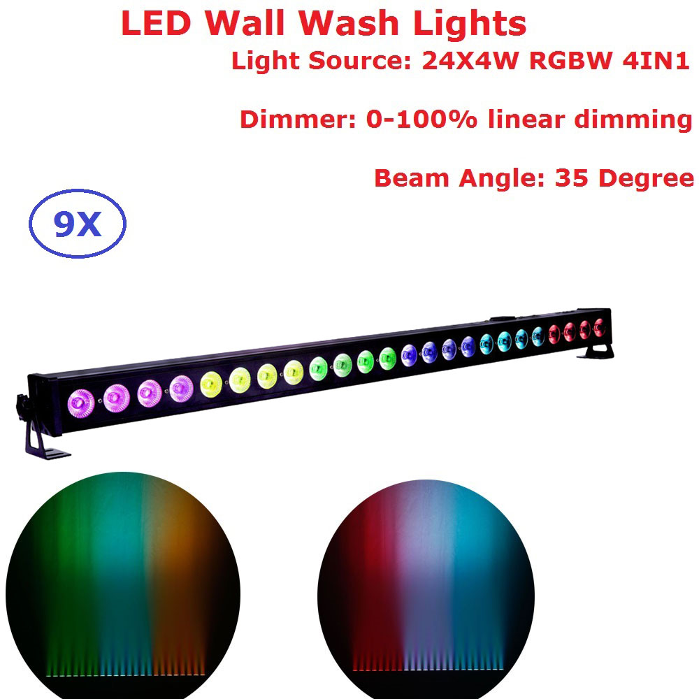 9 Units 24X4W RGBW 4IN1 LED Wall Wash Lights DMX LED Bar DMX Line Bar Wash Stage Lights For DJ Disco Party Indoor Shows newest magic ball lights 2pack 12x3w rgbw 4in1 led gobo effect lights for party disco dj christmas lighting shows fast shipping