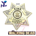 Hot Movie The Walking Dead Uniform Star King County Sheriff Letter Badge Gaes Cosplay Pin Shirt Brooch Jewelry Dropshipping