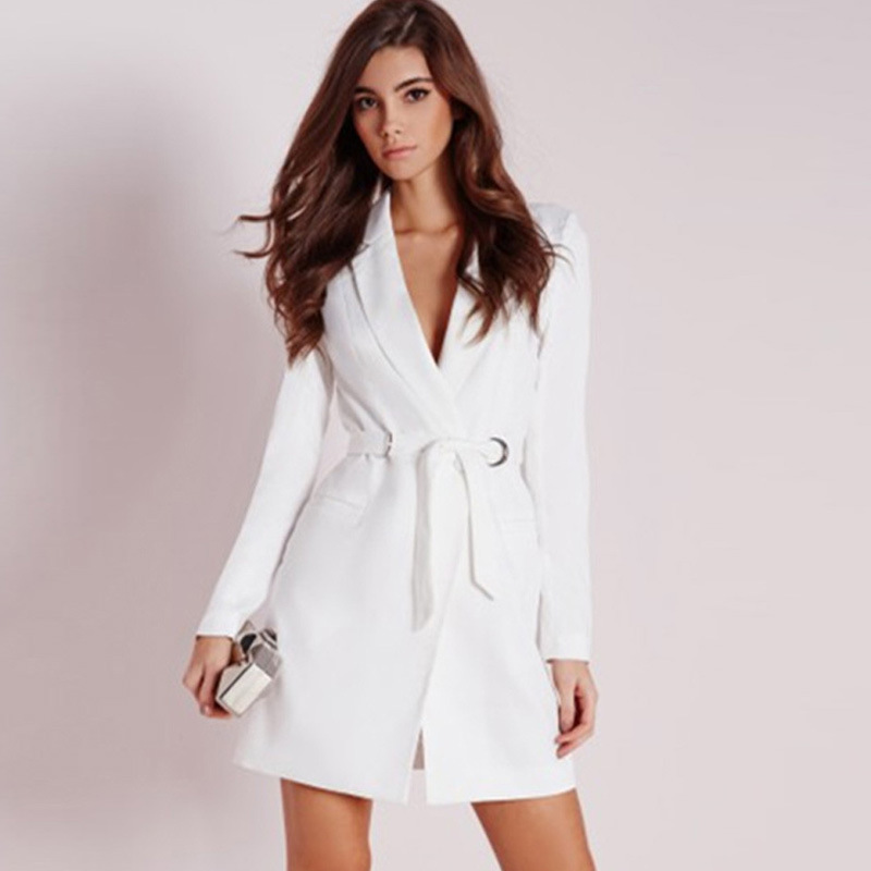white Deep Work Feminino Ladies Jacket Dress For Sleeve Black Long Slim Quality Womens White V Suit Blazer Neck Belted SqUwI
