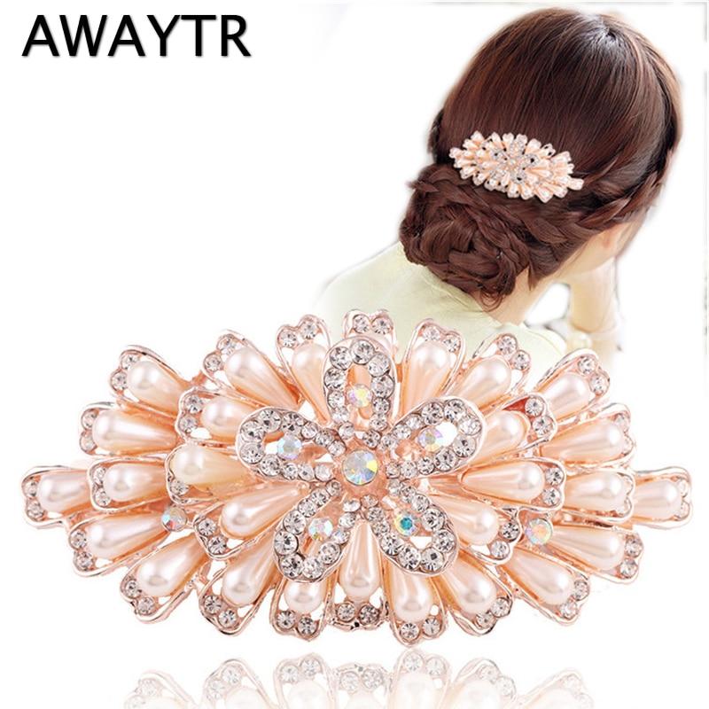 Hair Ornaments AWAYTR New Female Hairpins Peacock Hairpin Pearl Cystal Hair Clips Women Hair Jewelry Rhinestone Barrettes