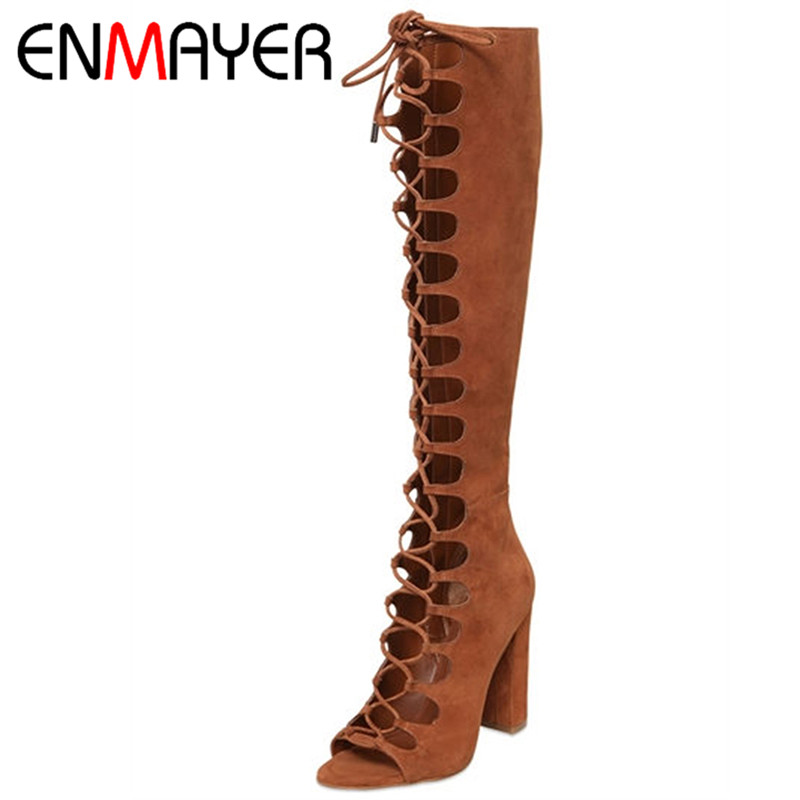 ENMAYER Fashion Summer Boots Knee High Boots Women Brown Color Sexy Lace-up Peep Toe Boots Genuine Leather Shoes for Women Pumps enmayer new women high heels fashion cut outs lace up knee high boots shoes woman summer peep toe sandals boots black shoes