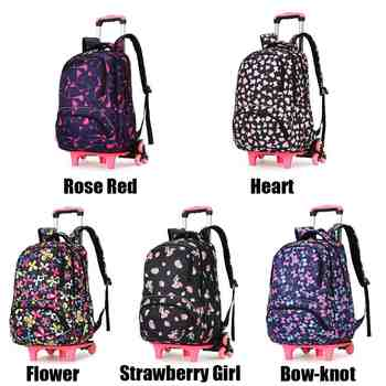 Kid\'s Travel Rolling Luggage Bag School Trolley Backpack Girls Backpack On Wheels Girl\'s Trolley School Wheeled Backpacks Child - DISCOUNT ITEM  50% OFF Luggage & Bags
