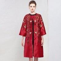 Плюс размер платья женщин 2017 осенью новый изысканный вышитые рукава три четверти кардиган траншеи стиль атласное платье миди