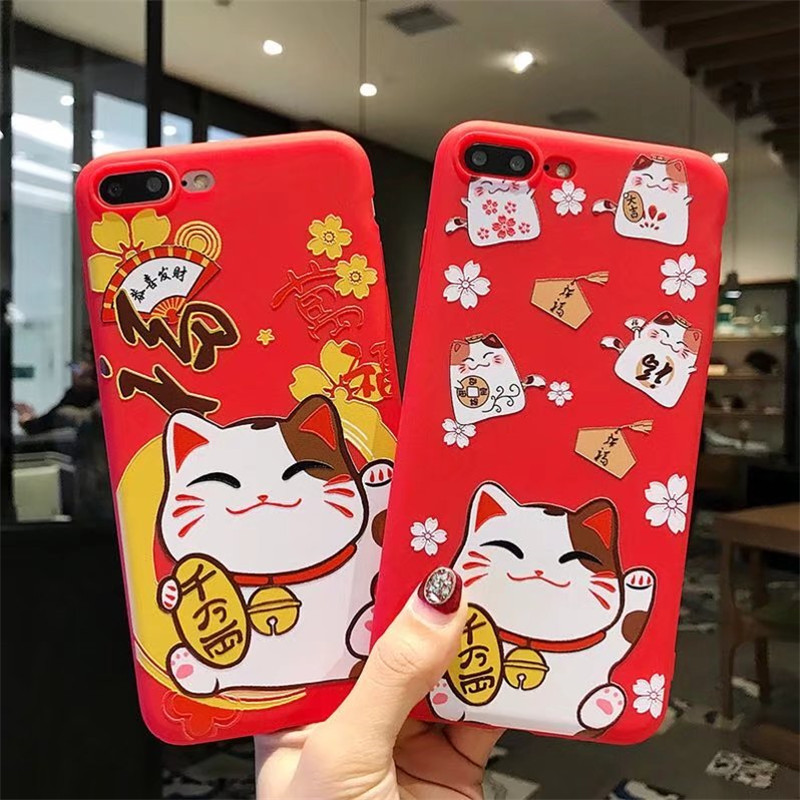 For iPhone 8 Case iPhone 6s Chinese New Year Best Wishes Cute Cat Matte Soft TPU Silicone Phone Case for iPhone X Case iPhone 7 ...
