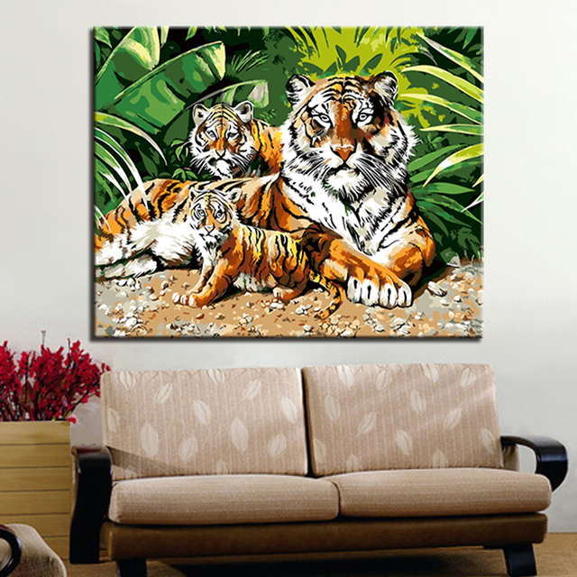DIY By Numbers Oil Painting Decor Tiger Animal Pictures Drawing Coloring On Canvas By Hand Framework Wall Modular Paints Artwork