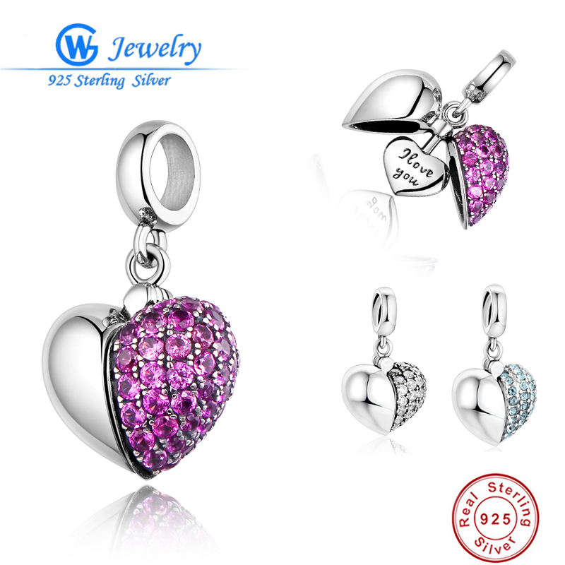 Sterling Silver 925 Bead I Love You Silver Heart Clear Pink Crystal Charms Fit Original Bracelet DIY for Christmas Gift tdiyj gift box love heart dangle to mom new collection charms diy stainless steel mesh silver bracelet for mother s day 1set