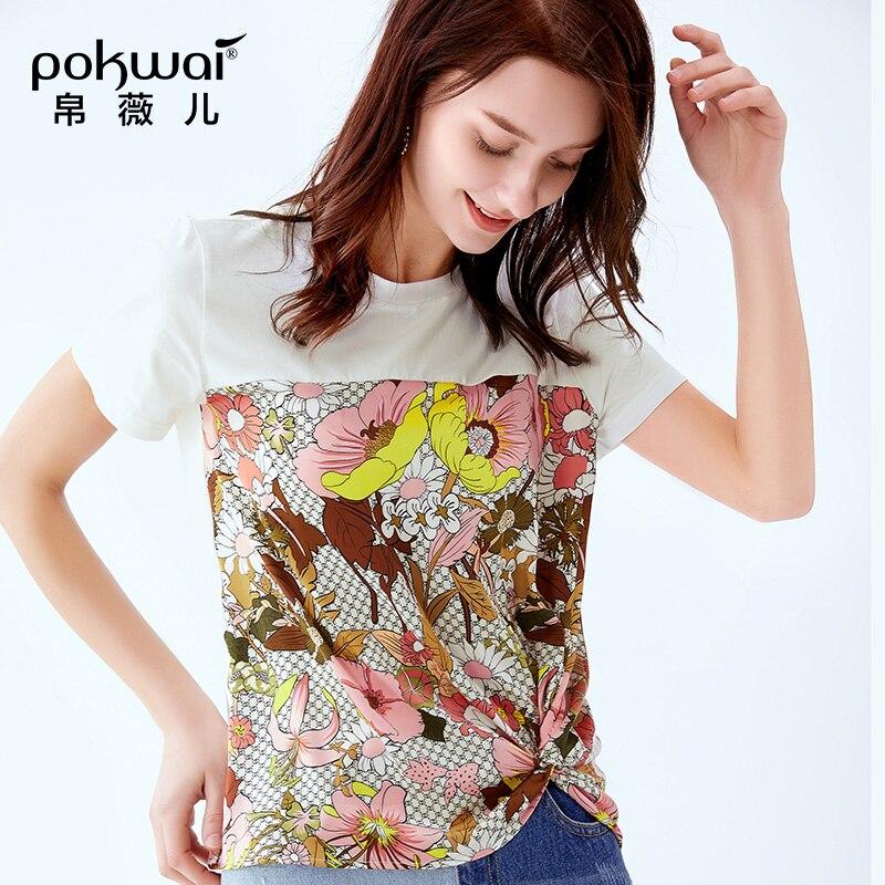 POKWAI/женская летняя Новинка 2019 года; Модная Повседневная футболка с короткими рукавами и круглым вырезом; женская тонкая рубашка