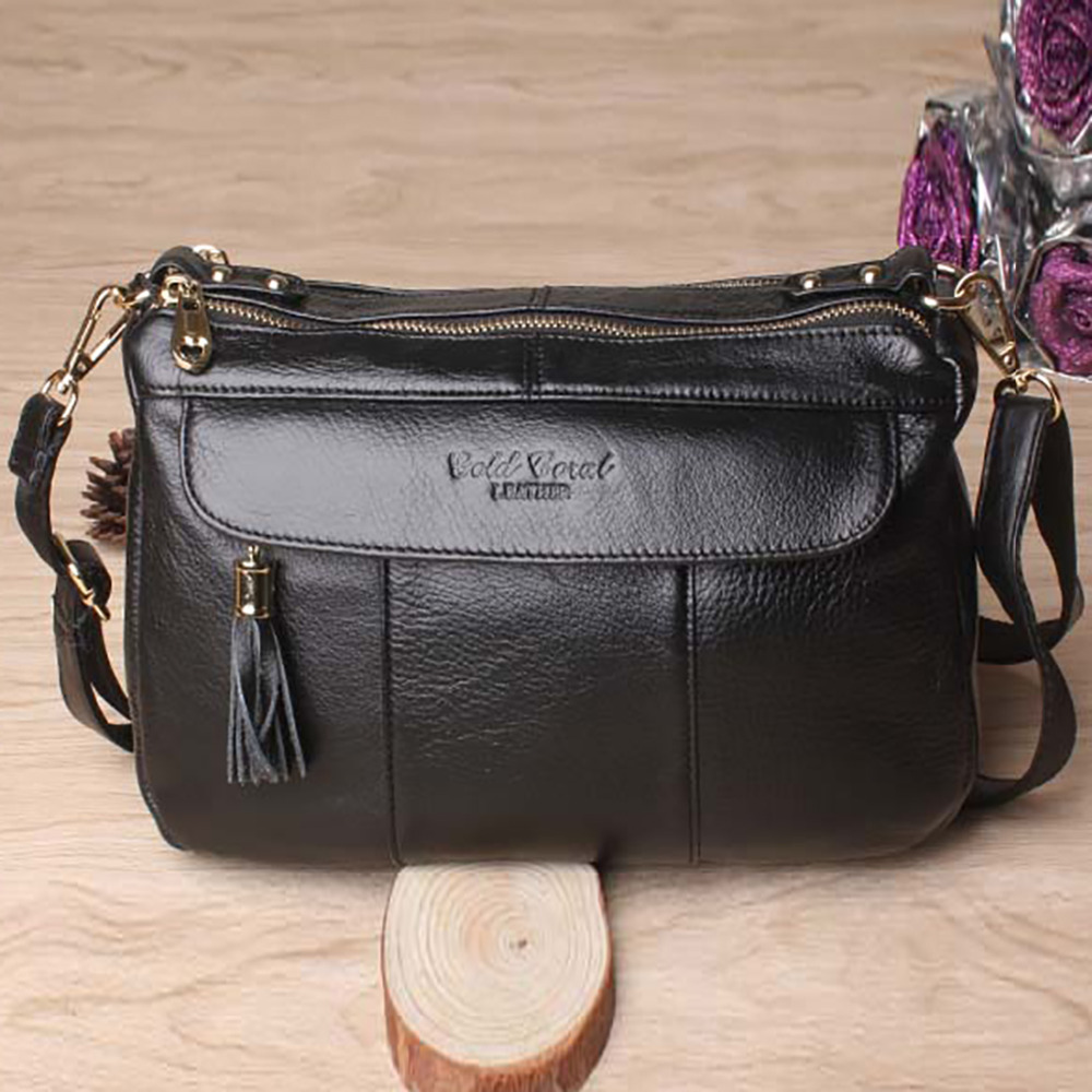 100% Genuine Leather Women Messenger Bags Ladies Large Capacity Shopping Cross Body Satchel Famous Brand Cowhide Shoulder Bag