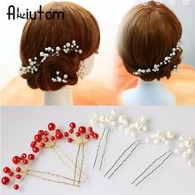 1Pc Simulate Pearl Hairpins Hairstyles Wedding Bridal Hair Pins Hair Jewelry Accessories Hairwear Girls Hair Clips For Women