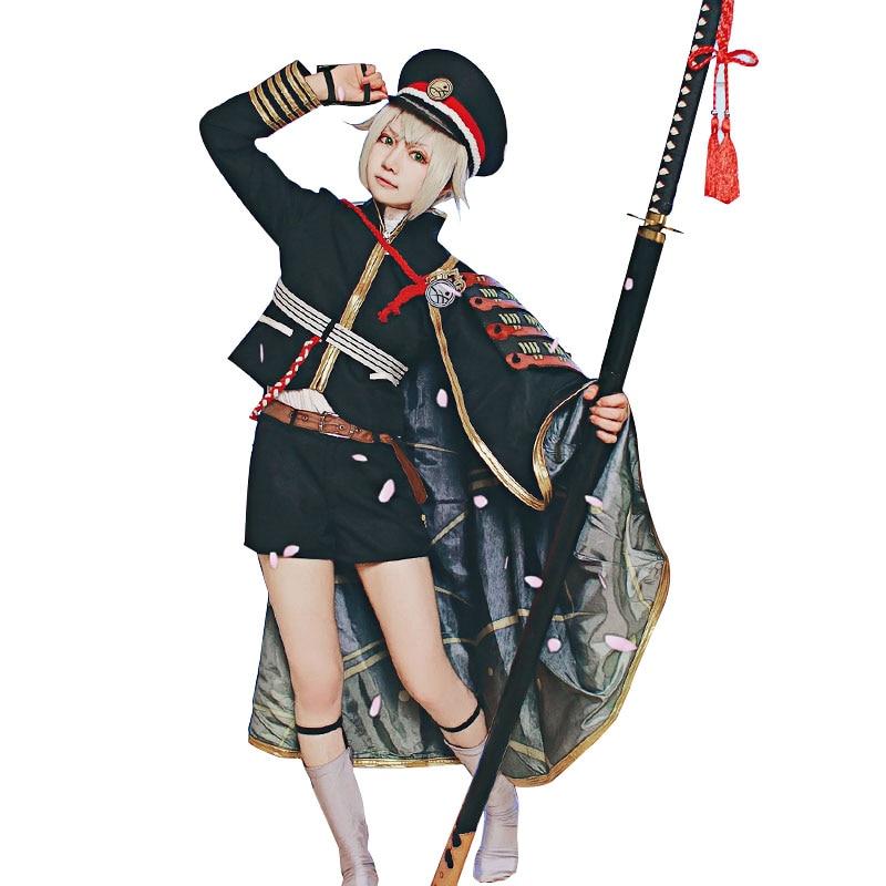 "HSIU_NEW Hotarumaru Cosplay תלבושות ""Touken Ranbu ONLINE"" ביגוד סט מלא פאה עם כובע ג 'רס כובע גלימה גלימה פוליאסטר"