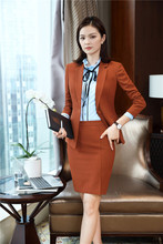 2018 Fall Winter Formal Uniforms Styles Blazers Suits With Skirt and Jackets Set For Women Office Work Wear Blazer Caramel Color