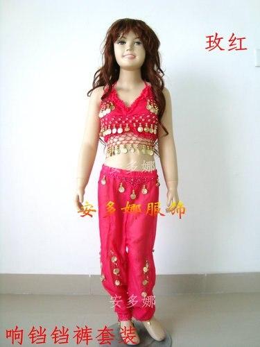 Костюм для танца живота, топ, бюстгальтер и штаны, подходит для детей ростом 90-130 см, для детей 6-13 лет, 6 цветов на выбор - Цвет: Многоцветный