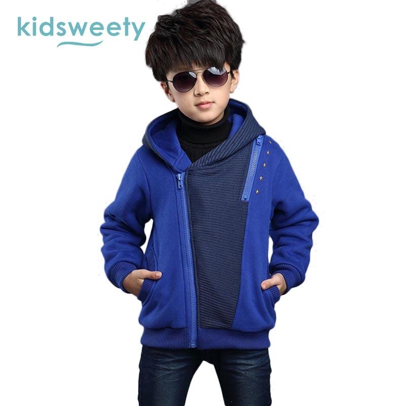 9fc4641cb340 Image Kidsweety Kids Boy Hoodies Cotton Long Sleeve Fleece Thick Warmth  Zipper Hooded Patchwork Rivet Asymmetric