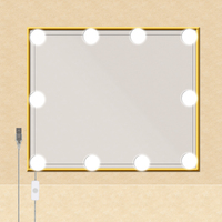USB 5V Hollywood Style Makeup Mirror Vanity LED Light 10PCS Bulbs Kit for Dressing Table with memory function dimmer switch