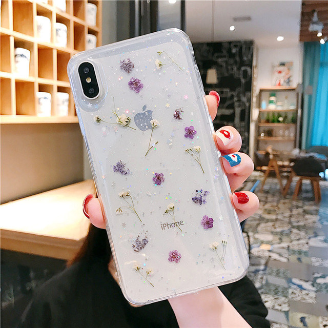 Real Dry Flower Glitter Clear Case For iPhone 8 7 Plus 6 6s Epoxy Star Transparent Case For iPhone X XR 11 Pro XS MAX Soft Cover 3