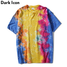 Dark Icon Foil Paint Splatter Tie Dyeing T-shirt Men Round Neck Street Men's Tshirts Casual Tee Shirts Man Top