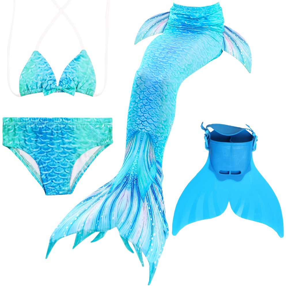 Swimmable Girls Mermaid Tails With Monofin Fin Bikinis Set Kids Children Swimsuit Mermaid Tail Cosplay Costume For Girl Swimming