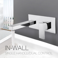 Contemporary Bathroom Basin Sink Faucet Wall Mounted Square Chrome Brass Mixer Tap