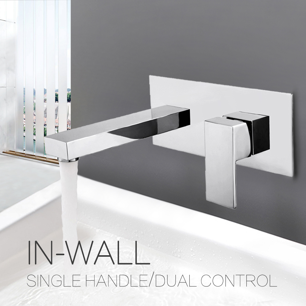 цена на Contemporary Bathroom Basin Sink Faucet Wall Mounted Square Chrome Brass Mixer Tap
