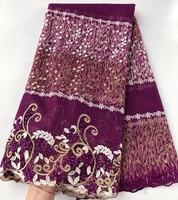 Пурпурное золото африканский гипюр кружево Окаймленный Французский кружево оригинальный нигерийская тюль ткань красивый высокое качеств...