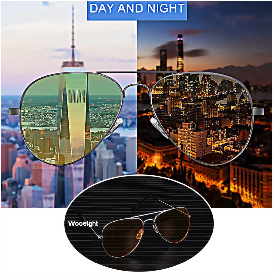 Wooeight Car Day Night Vision Goggles Sunglasses Yellow Anti-glaring Decoration Alloy Frame Universal Driver Glasses