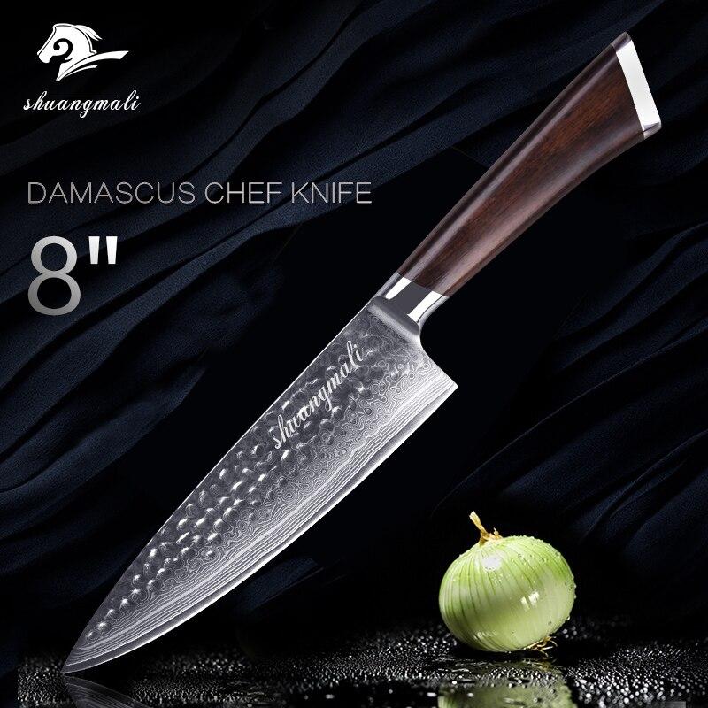 Couteau de Chef professionnel couteaux de cuisine en acier damas japonais 8 pouces VG-10 67 couches couteau à viande outil de coupe tranchage manche en bois