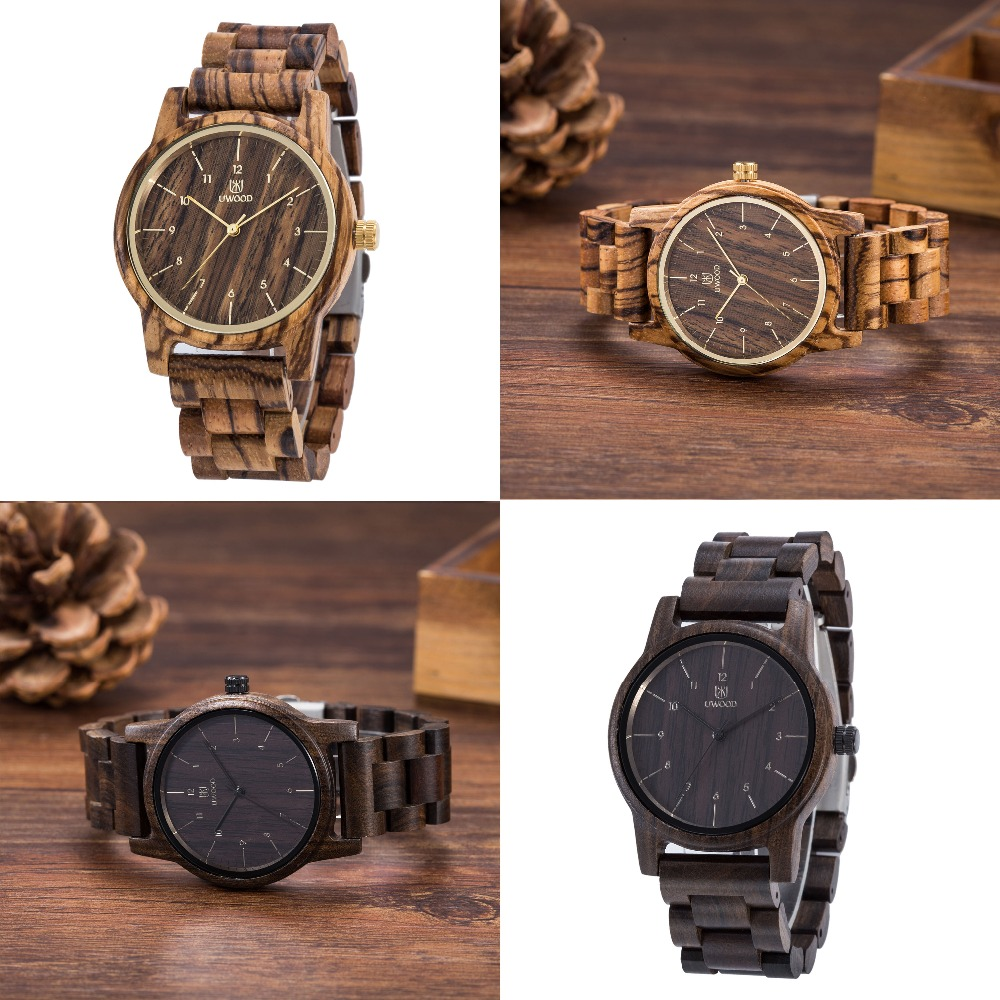 2017 Hot Sell Handmade Men Luxury Natural Zebra Wood Quartz Movement Casual Wooden Wristwatches Relogio Masculino Watches Retro