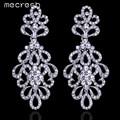 Mecresh Belo Padrão Cristal Strass Brincos De Noiva Prata Banhado Brincos Elegantes para Mulheres EH177