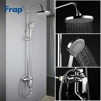 FRAP Bathtub Faucets contemporary style bathroom shower faucet bath shower mixer tap with rainfall shower head set tapware Bathtub Faucets     -