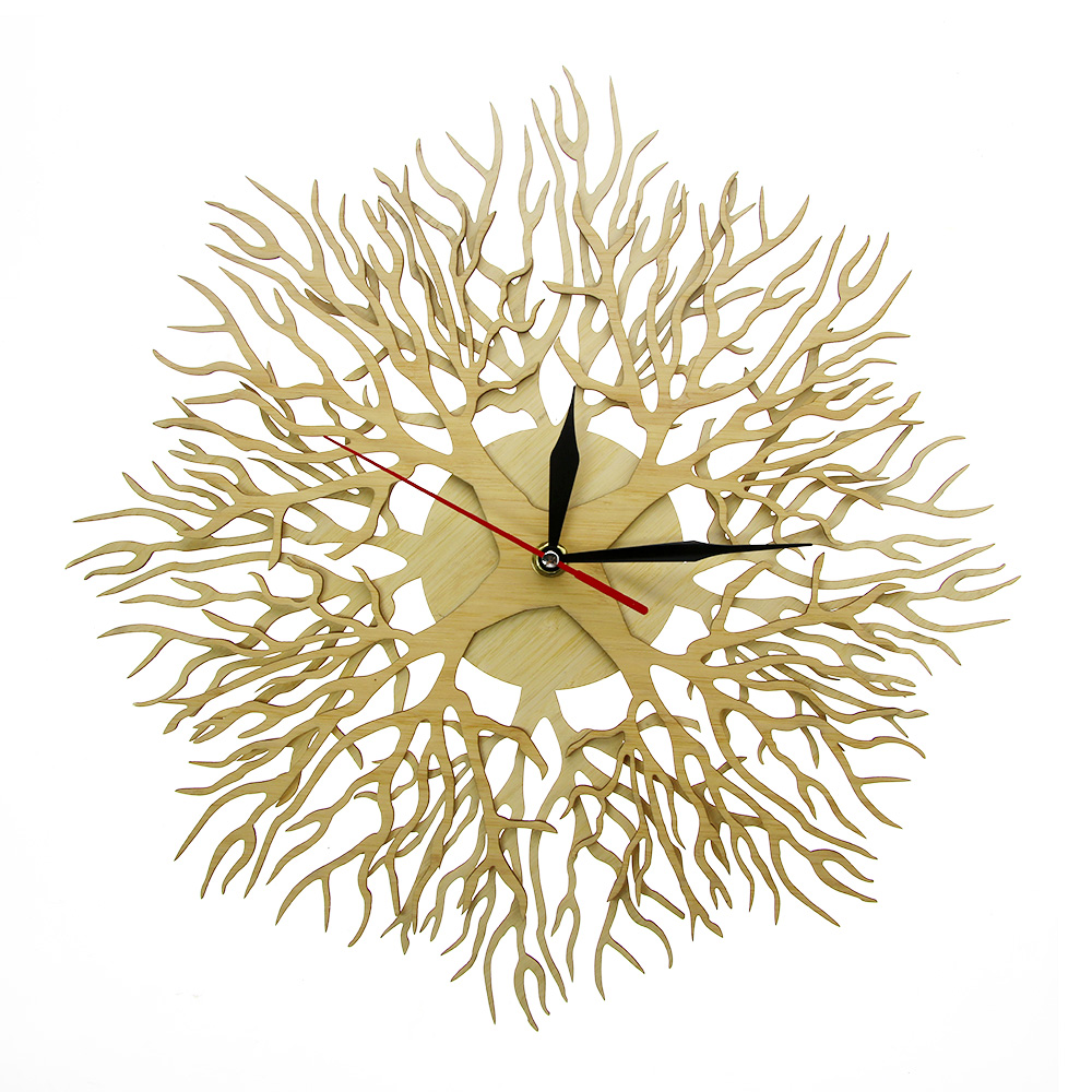 Lasered Engraved Wood Forest Masterpiece Tree Of Life Wall Clock Tree On The Clock Rustic Wood Art Decor Hanging Watch Timepiece