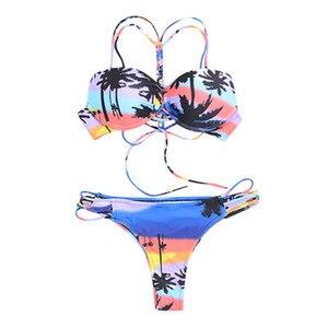 Женский купальный костюм с пуш-ап, на шнуровке, с принтом, пуш-ап, для пляжа, для лета, 2019
