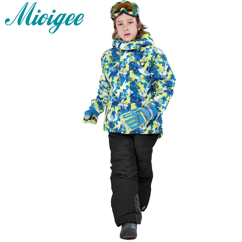 Mioigee 2017 Children Suit Baby boys Outdoor Wear Hooded Jackets+Ski Pants Tracksuit for boy Winter Warm sport suit kids clothes