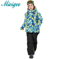 Mioigee 2017 Children Suit Baby Boys Outdoor Wear Hooded Jackets Ski Pants Tracksuit For Boy Winter