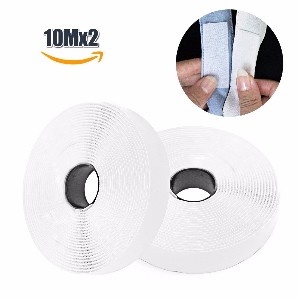 10M*2 20mm Hook and Loop Tape, Self Adhesive Sticky Heavy Duty Tape Reusable Double Sided