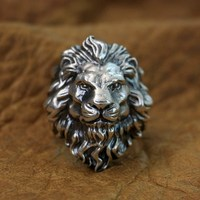 LINSION Huge 925 Sterling Silver King of Lion Ring Mens Biker Punk Ring TA128 US Size 8~15