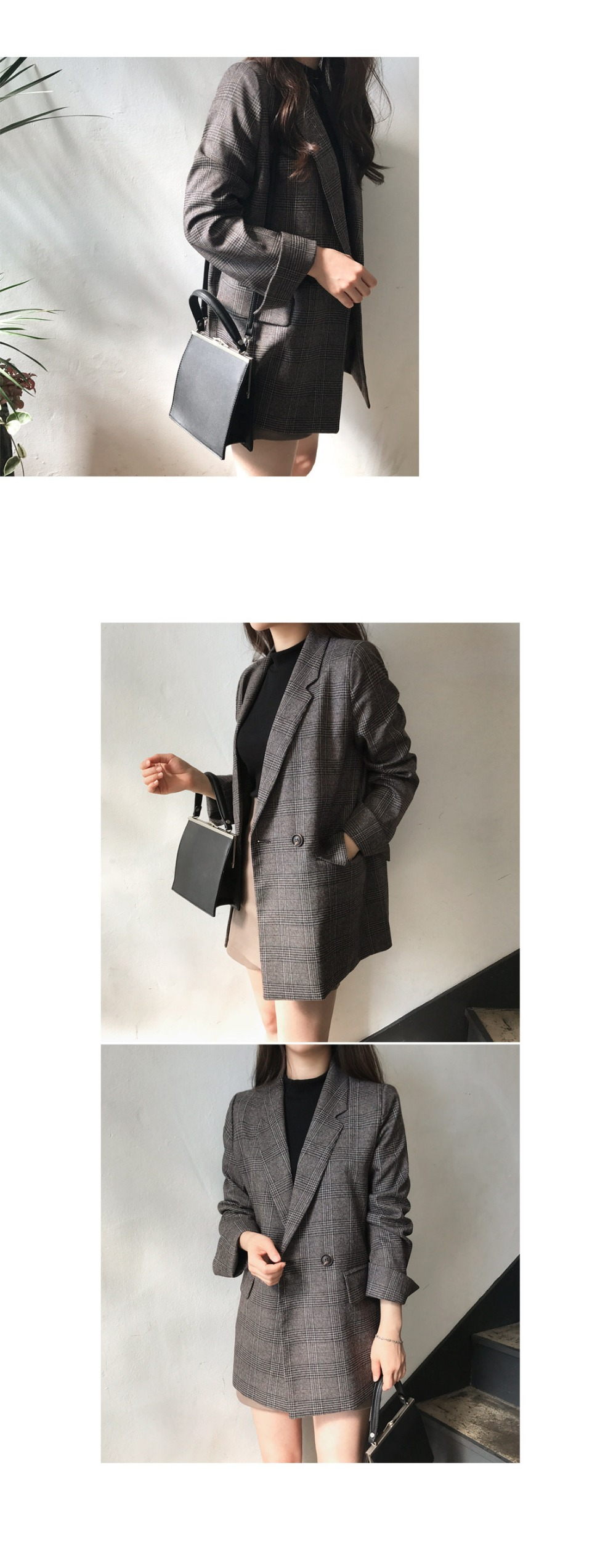 Women check long sleeve cotton jacket casual vintage coat plaid  blazer