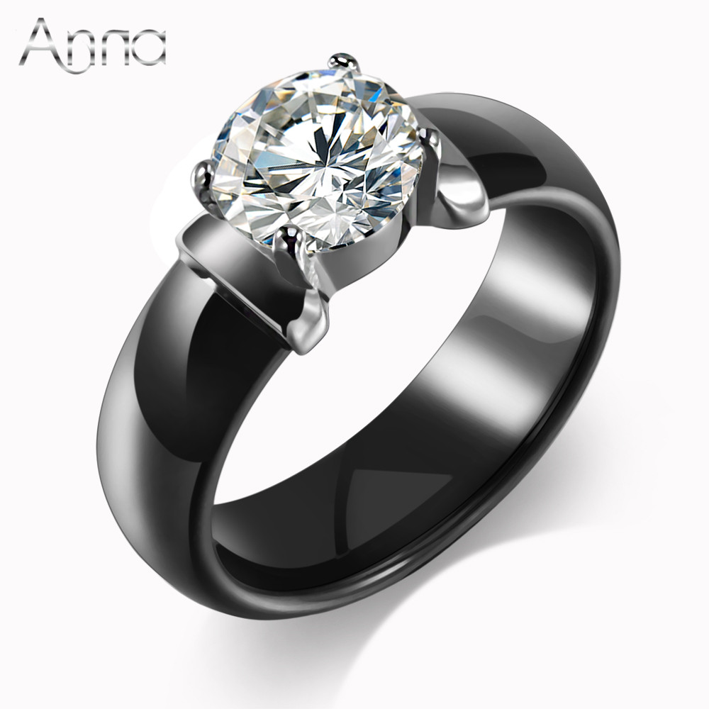 an new arrival ceramic rings for women huge zircon cabochon setting blackwhite ceramic wedding rings cute simple unique design - Huge Wedding Rings