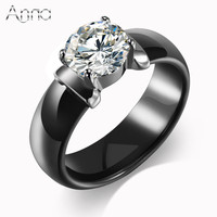 A N New Arrival Ceramic Rings For Women Huge Zircon Diamond Setting Black White Ceramic Wedding