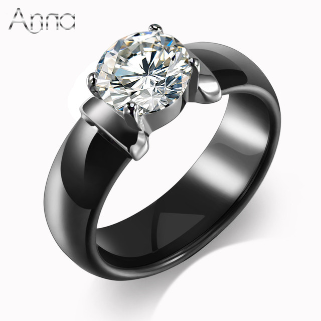 an new arrival ceramic rings for women huge zircon cabochon setting blackwhite ceramic wedding rings cute
