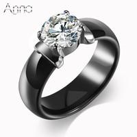 A N New Arrival Ceramic Rings For Women Huge Zircon Diamond Setting Black White Ceramic Wedding