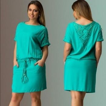 New Plus Size Women Ladies Casual Dress Short Sleeve Lace Floral Back Short Dress Top Robe Ete New Футболка