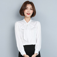 Spring New Bottomed Shirt Female Korean Slim Was Thin OL Ladies Long Sleeve Chiffon Blouse Women