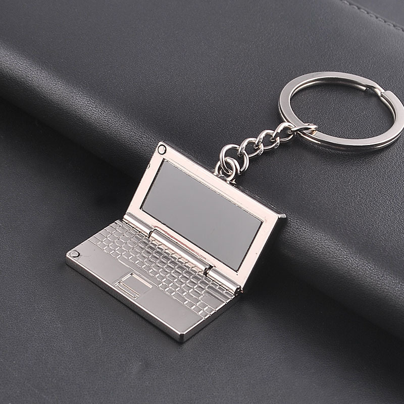 FREE SHIPPING 100 pieces lot Wholesale Novelty Metal Laptop Shaped Keychain Computer Keyring