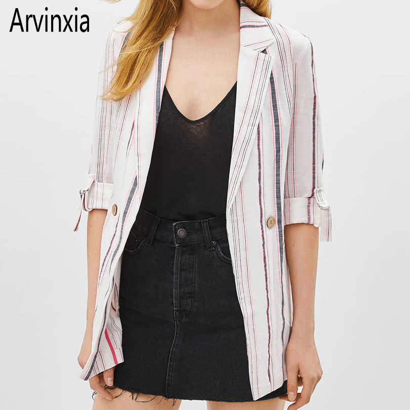 Arvinxia ZA Casual Stripe Slim Lady Blazers New Fashion Cotton Linen Office Ladies Suit Elegant Roll-up Long Sleeve Female Coats