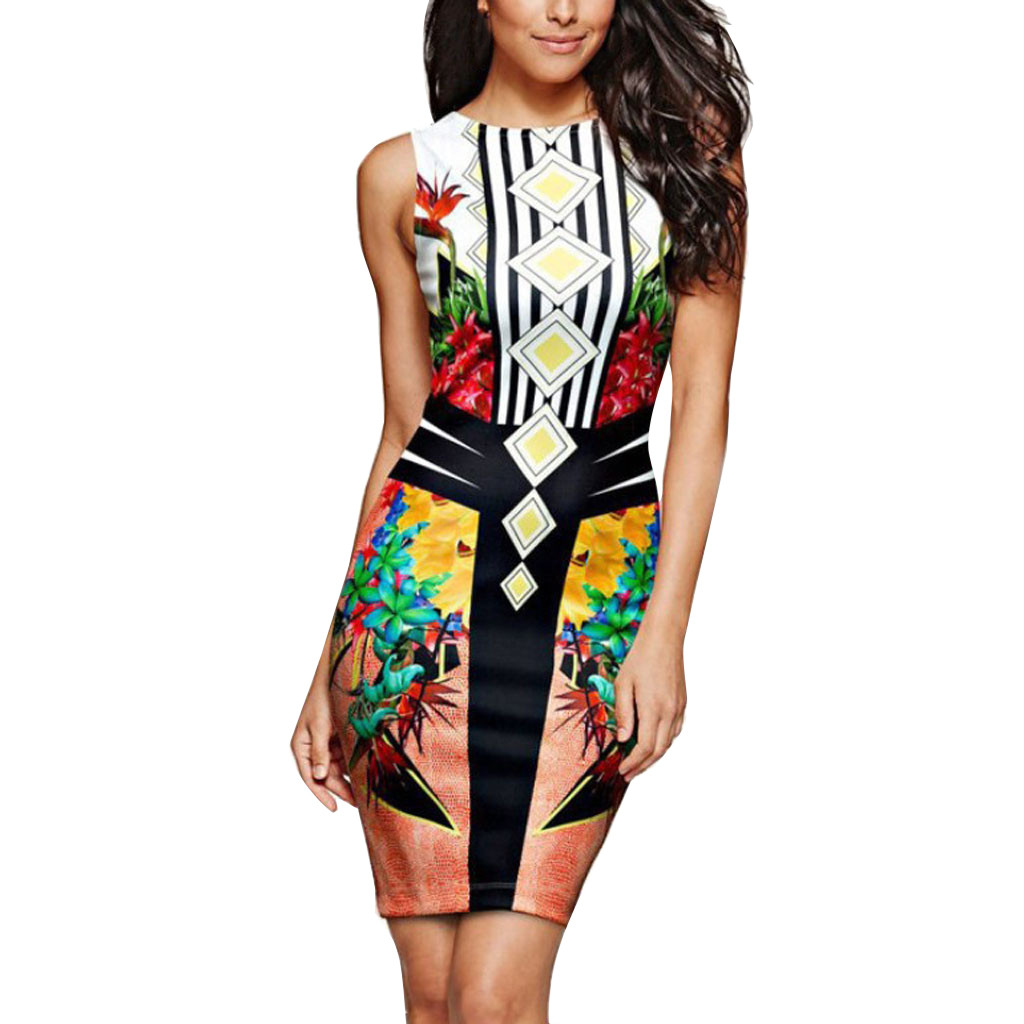 Ethnic Style Ladies Sleeveless Print Bag Hip Tight Sexy Dress Summer Party Nightclub O-neck Mini Fashion Mini Dresses Plus Size