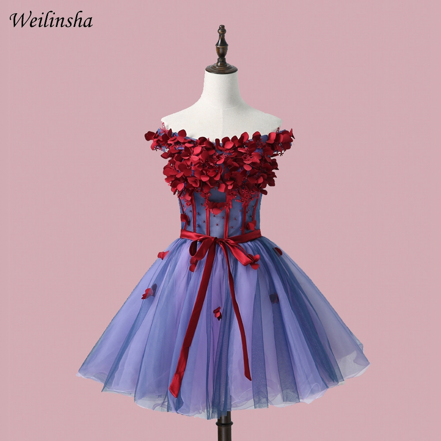 Weilinsha Real Cheap   Cocktail     Dresses   Off Shoulder Sleeveless Flowers A-line Tulle Short   Cocktail   Party   Dress   Lace-up Back